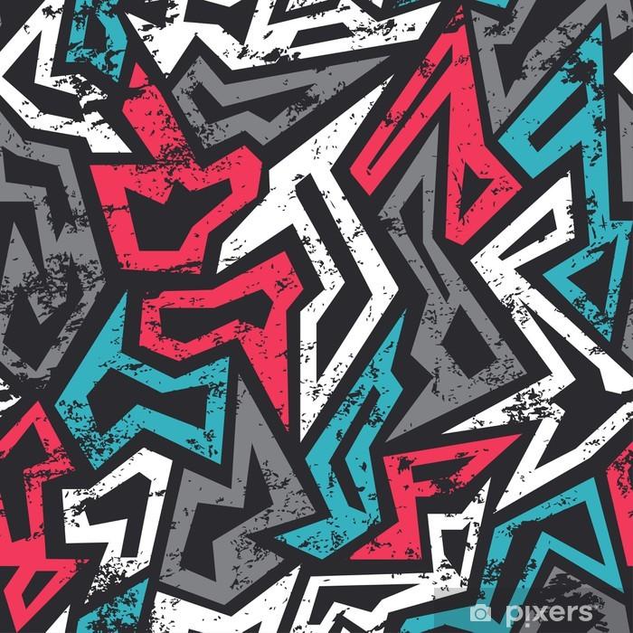 Pixerstick Sticker Gekleurde graffiti naadloze patroon met grunge effect - Grafische Bronnen