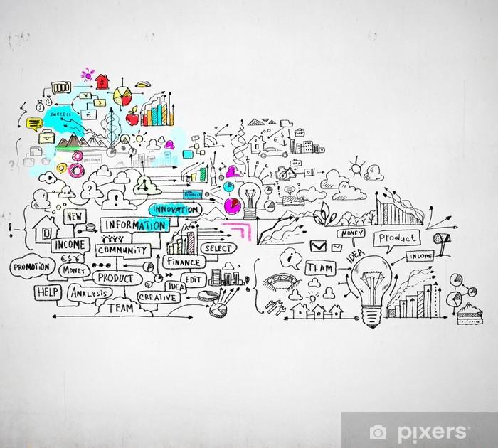 Papier peint vinyle Affaires croquis coloré - Signes et symboles