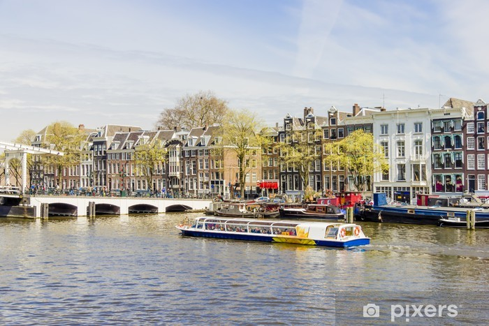 View on houseboats, Amsterdam, the Netherlands Vinyl Wall Mural - European Cities