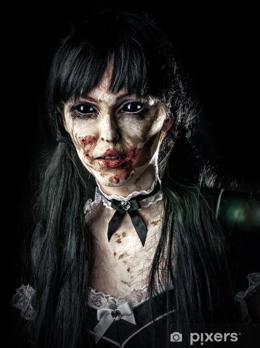 Papier peint vinyle Femme zombie effrayant aux yeux noirs - Thèmes
