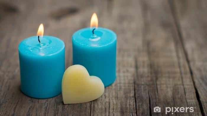 Sininen kynttilät Pixerstick tarra - Onnellisuus