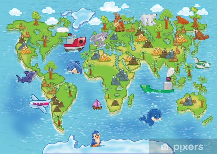 kids world map Vinyl Wall Mural - iStaging