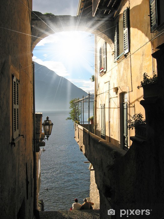 Romantic view to the famous Italian lake Como from Varenna town Pixerstick Sticker - Water