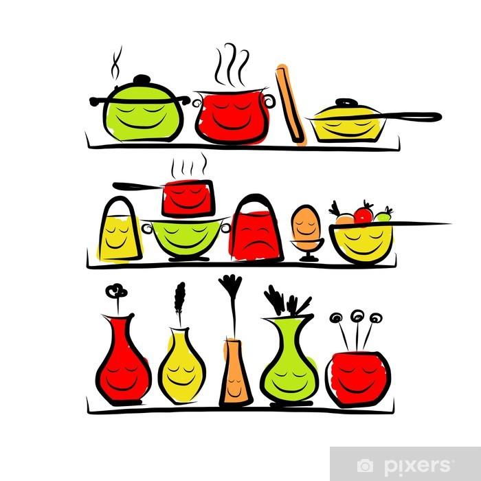 Sticker Pixerstick Ustensiles de cuisine caractères sur les tablettes, croquis de dessin pour votre - Signes et symboles
