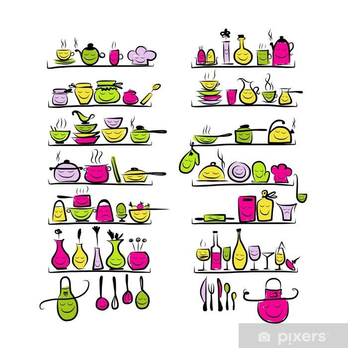 Papier Peint Ustensiles De Cuisine Caractères Sur Les Tablettes Croquis De Dessin Pour Votre