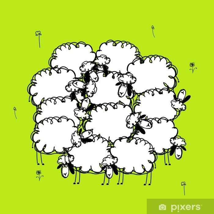 Poster Lustige Schafe auf Wiese, Skizze für Ihr Design - Zeichen und Symbole