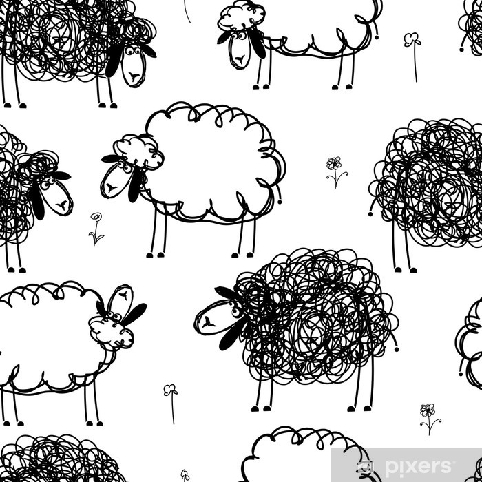 Black and white sheeps on meadow, seamless pattern for your Poster - Backgrounds