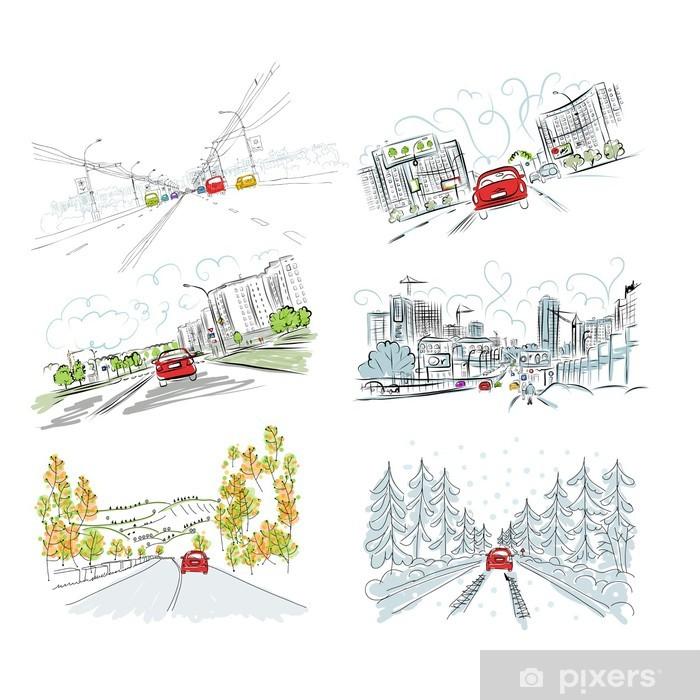 Için Elle çizilmiş Resimlerin Set şehir Yolda Otomobil Senin Duvar