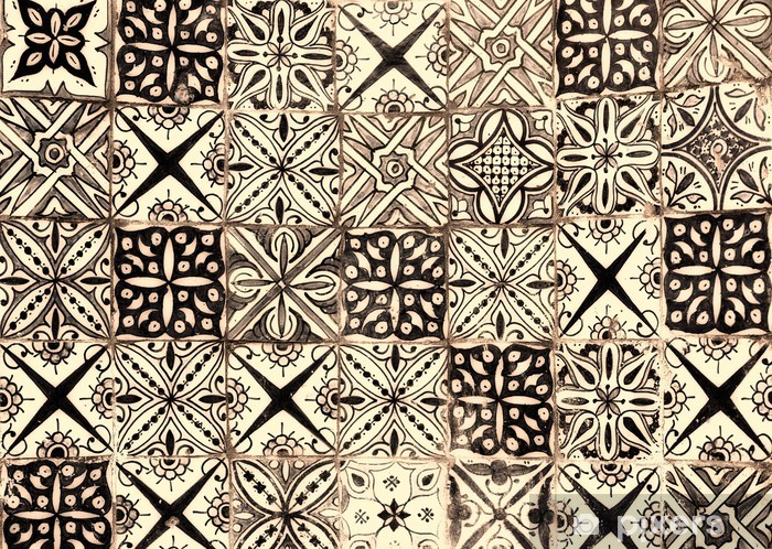 moroccan vintage tile background Pixerstick Sticker - Styles