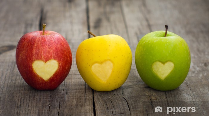 Apples with engraved hearts Vinyl Wall Mural - iStaging
