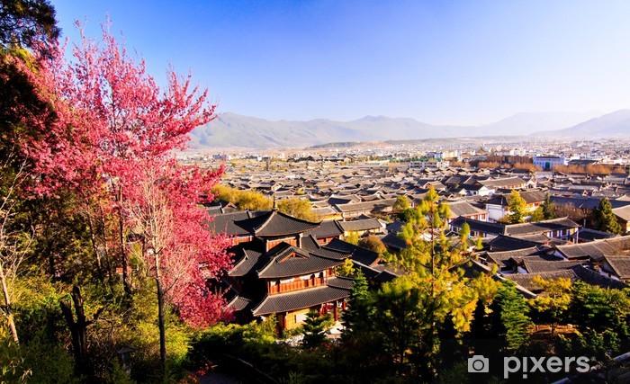 Naklejka Pixerstick Punkt widzenia starego miasta Lijiang - Pejzaż miejski