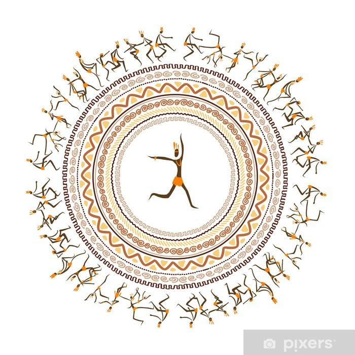 Plakat Starożytni plemienne, etniczne ozdoba ramki do projektowania - Sztuka i twórczość