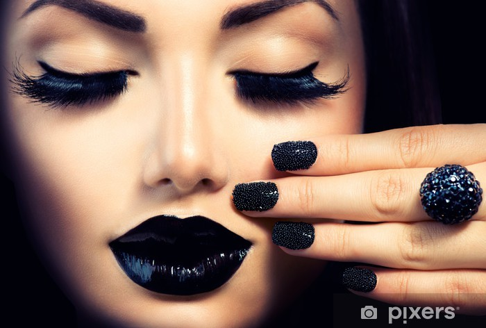 Beauty Fashion Girl with Trendy Caviar Black Manicure and Makeup Pixerstick Sticker - Themes