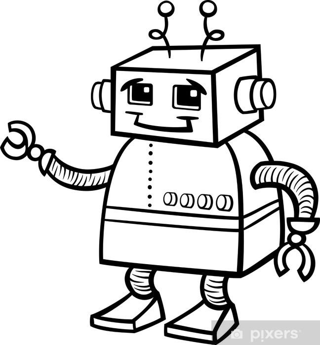 Boyama Robot Karikatür Illüstrasyon çıkartması Pixerstick Pixers