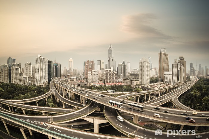shanghai elevated road junction panorama Vinyl Wall Mural - On the Road