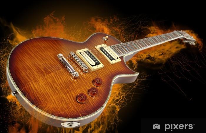 Papier peint vinyle Guitare en flammes. - Rock