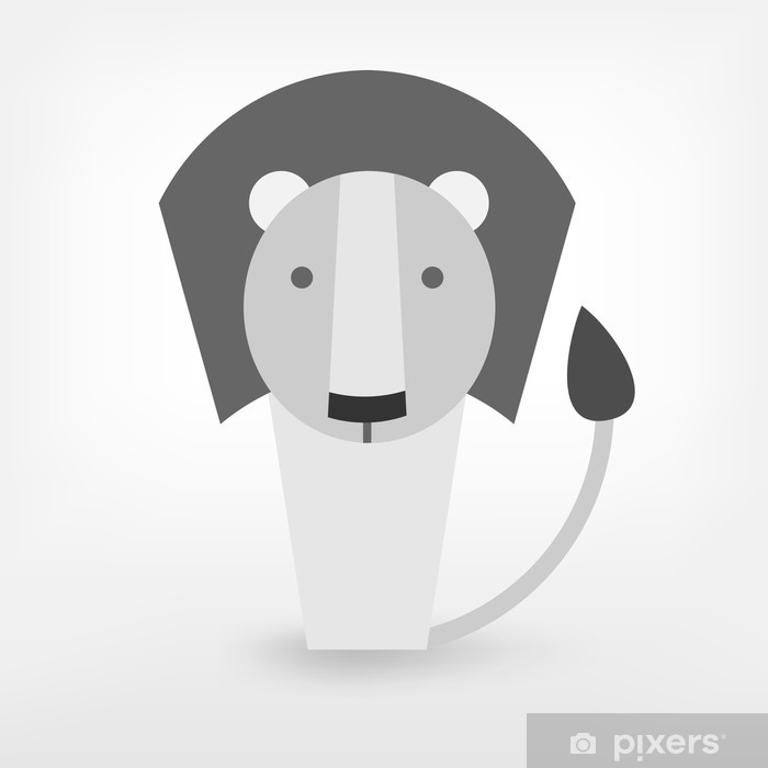 Sticker Pixerstick Noir et blanc graphique lion - Mammifères