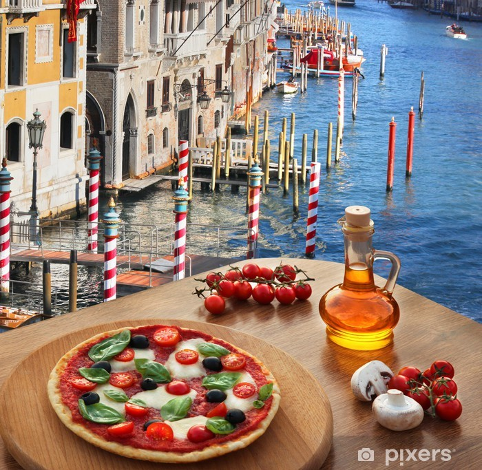 Classic Italian pizza in Venice against canal, Italy Vinyl Wall Mural - European Cities