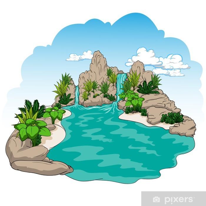 Papier peint vinyle Illustration cascade nature et jardin arbre - Merveilles naturelles