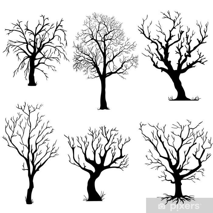 Nálepka Pixerstick Vektorový soubor siluety stromů - Roční období