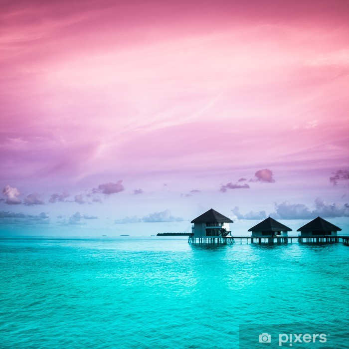 Over water bungalows with steps into amazing green lagoon Pixerstick Sticker - Themes