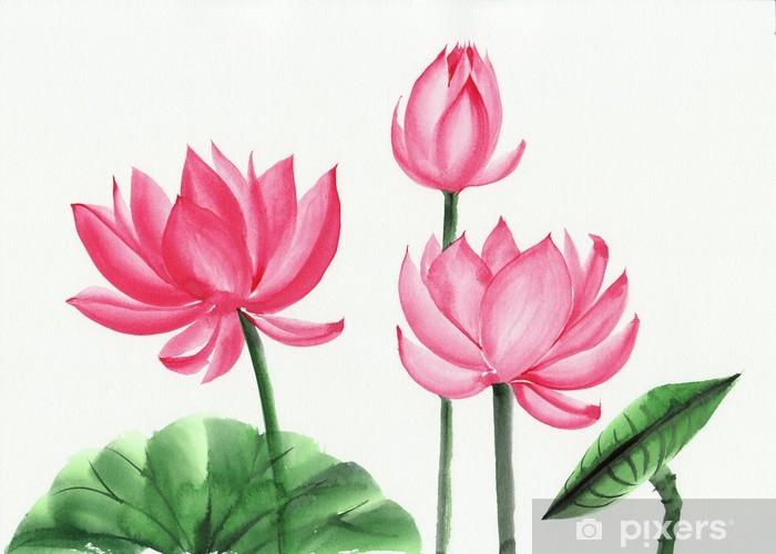 Watercolor Painting Of Pink Lotus Flower Wall Mural Pixers We
