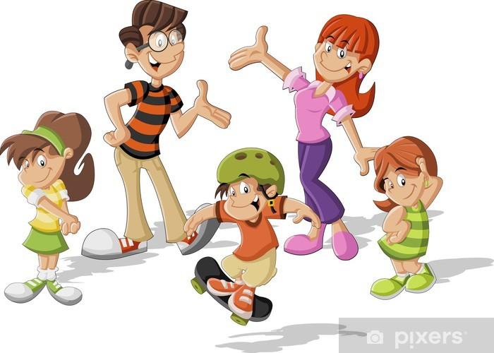 Fotomural Familia Feliz De Dibujos Animados Lindo Colorido Pixers