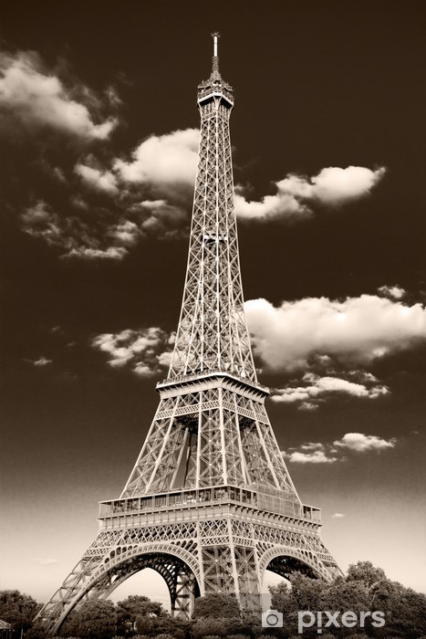 Vinilo para Nevera La Torre Eiffel retro -