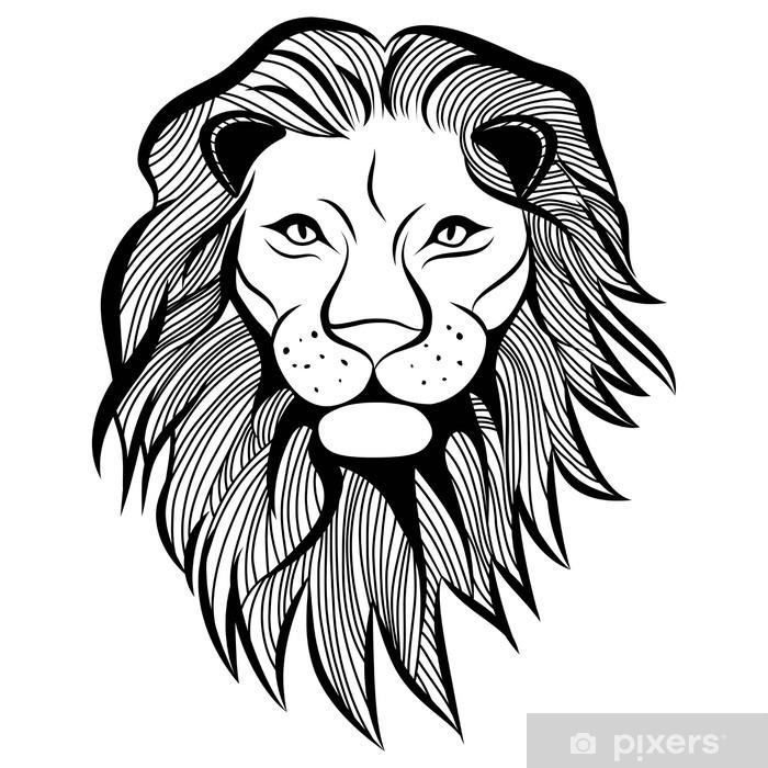 Lion Head Vector Animal Illustration Sketch Tattoo Design Wall Mural Vinyl