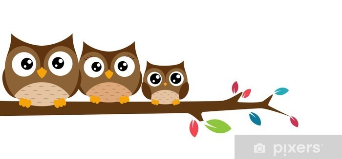 owls Family sat on a tree branch Vinyl Wall Mural - International Celebrations