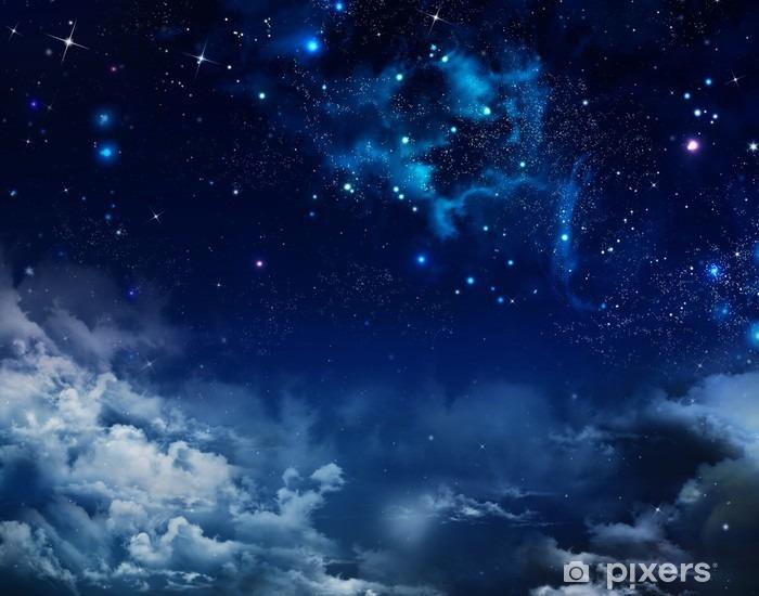 Çıkartması Pixerstick Yıldızlarla gece gökyüzünde güzel arka plan -