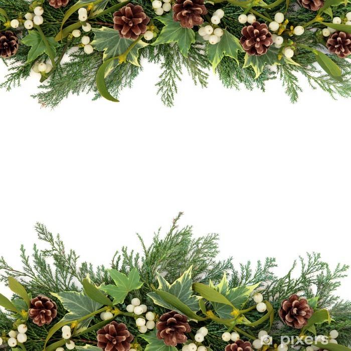 Christmas Greenery.Christmas Greenery Border Wall Mural Vinyl