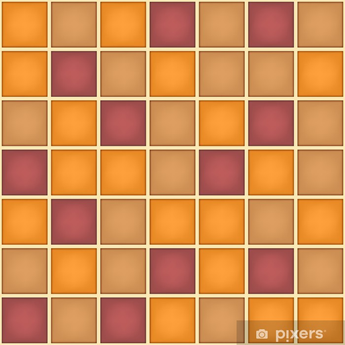 Fotomural Estándar Geométrica patrón cuadrado púrpura anaranjado - Fondos