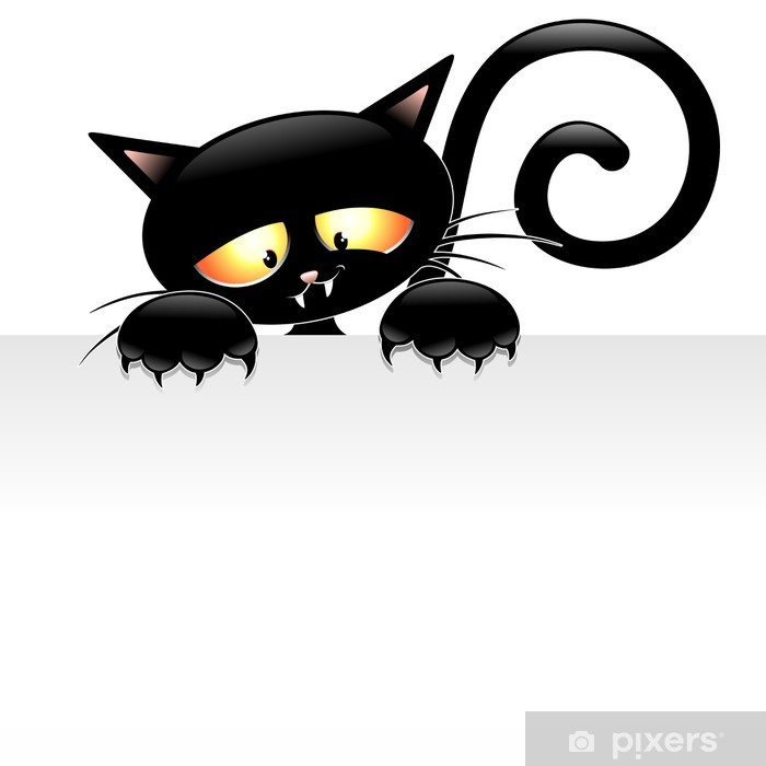 Black Cat Cartoon With Panel Gatto Nero Con Pannello Wall Mural