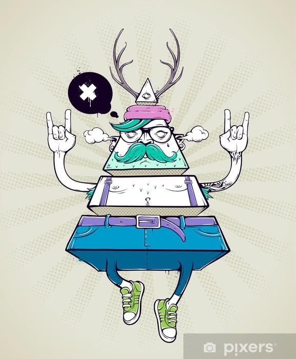 Pixerstick Sticker Driehoek hipster bizar karakter - Snor