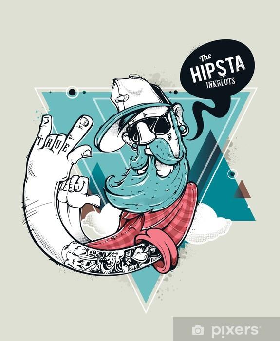 Pixerstick Sticker Hipster graffiti karakter - Snor