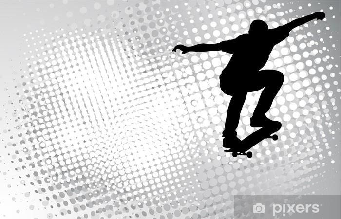skateboarder on the abstract halftone background - vector Pixerstick Sticker - Skateboarding