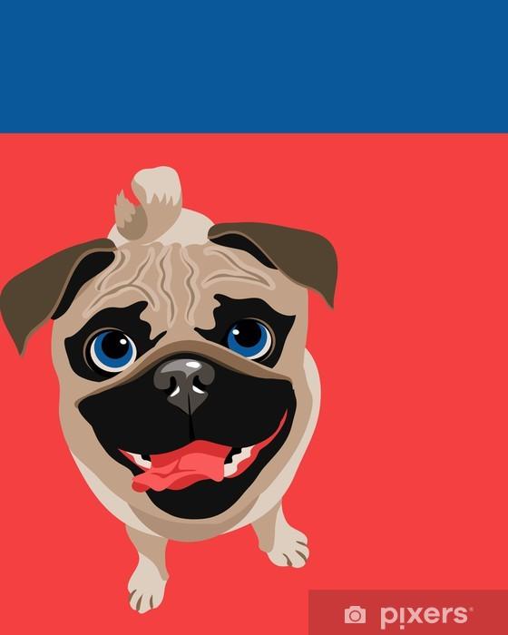Aufkleber Lustige Illustration Eines Mops Hund Pixers Wir Leben