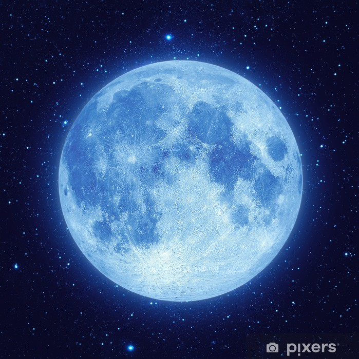 Papier peint vinyle Pleine lune bleue avec l'étoile au ciel nocturne - Thèmes