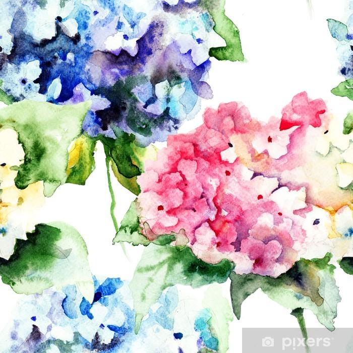 Seamless pattern with Beautiful Hydrangea blue flowers Pixerstick Sticker - Flowers