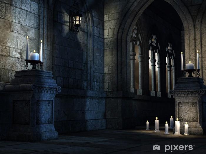 Fototapeta winylowa Wnętrze gotyckiego kościoła ze świecami - Ezoteryka