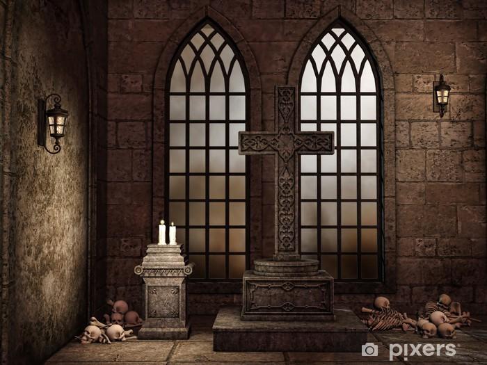 Fototapeta winylowa Gotycka krypta z czaszkami, świecami i lampami - Ezoteryka