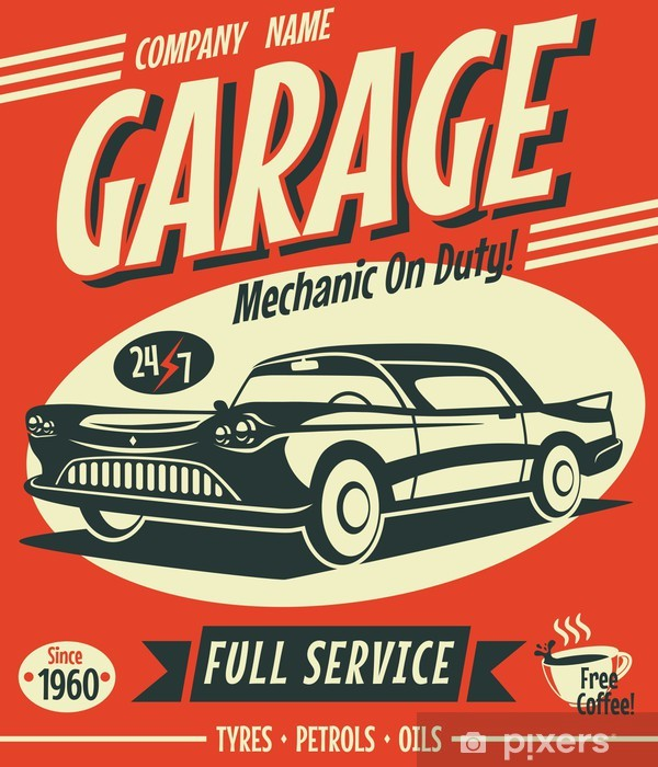 Retro car service sign. Vector illustration. Pixerstick Sticker - Styles