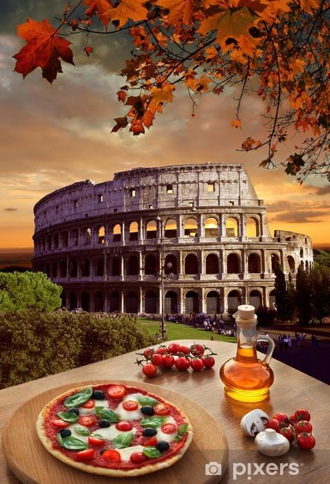 Naklejka Pixerstick Colosseum z włoskiej pizzy w Rzymie - Tematy