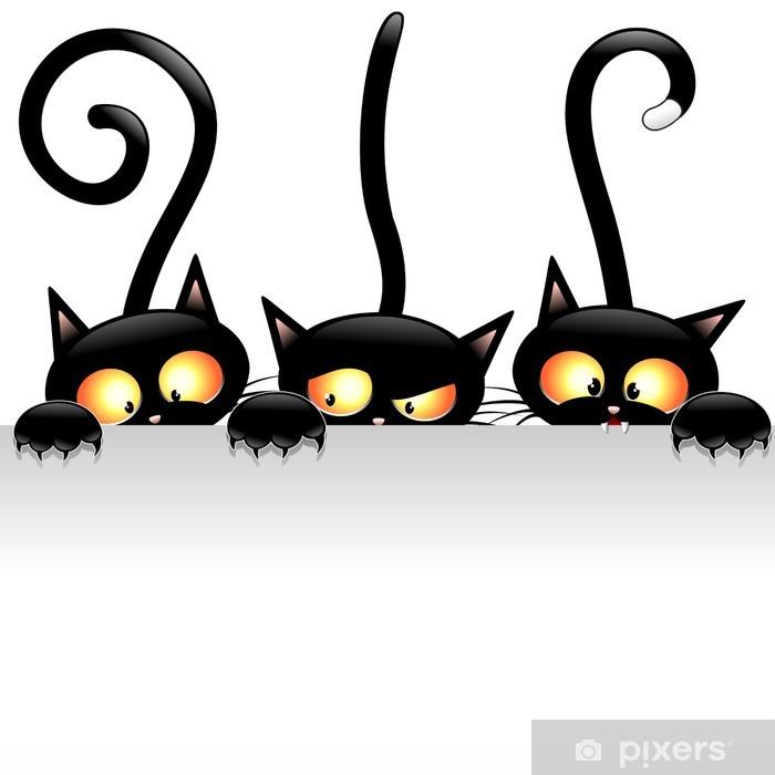 Vinilo Pixerstick Historieta divertida de los gatos con Panel-Gatti Buffi con Pannello -