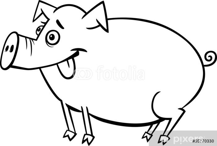 Vinilo Pixerstick Dibujos Animados Granja De Cerdos Para Colorear