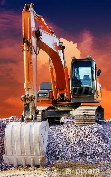 Vinilo Pixerstick Excavador grande en la nueva constructio - Por carretera