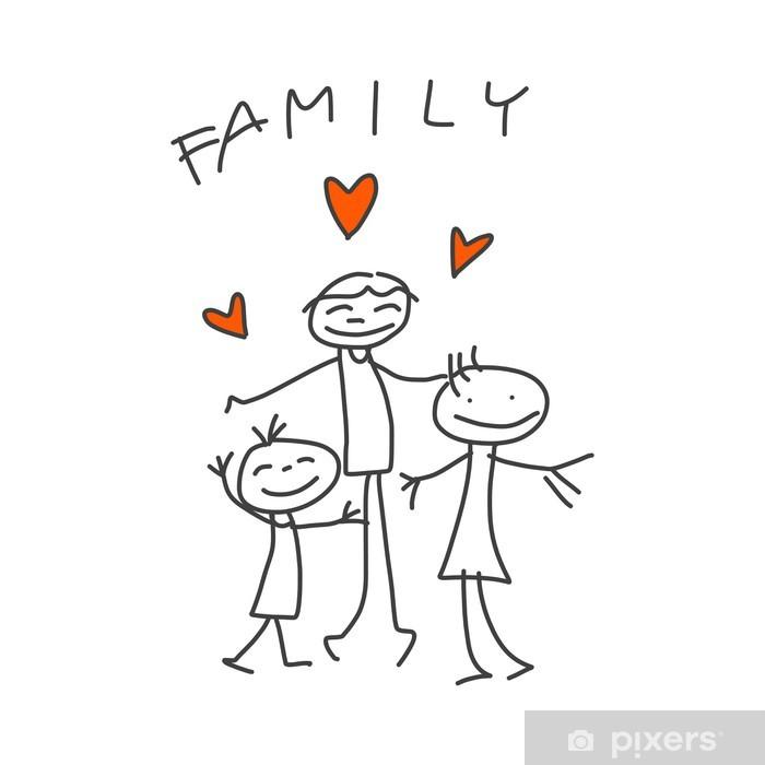 Fototapeta Rucni Kresba Karikatura Stastna Rodina Pixers Zijeme