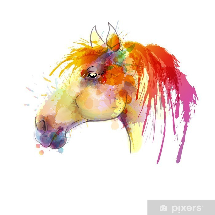 Horse head watercolor painting Poster - Other Other