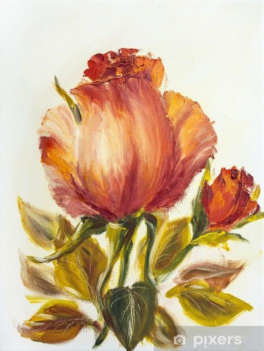 Papier Peint Belle Rose Peinture A L Huile Sur Toile Pixers